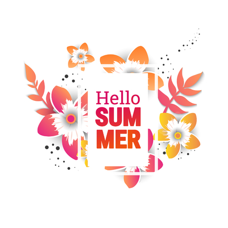 Bright Hello summer text poster with color flowers in style paper cut. Trendy Design Template.