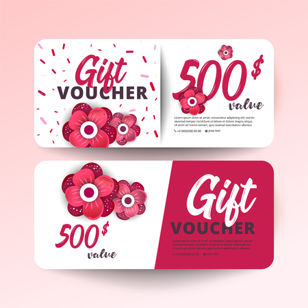 Set of colorful gift vouchers with flowers