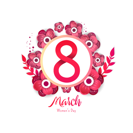 International womens day. 8 number with red paper cut flowers vector illustration in frame. Trendy Design Template.