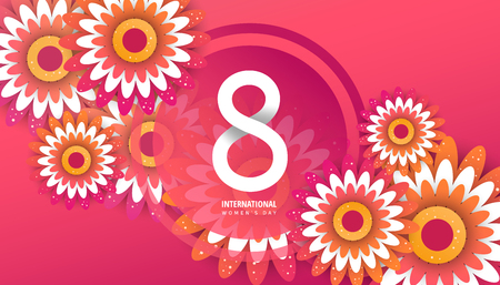 International women's day flyer. 8 number with green paper cut flowers vector illustration. Trendy Design Template. Vettoriali