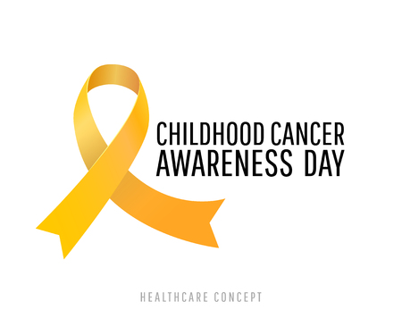 Banner for childhood cancer awareness day with realistic yellow circle ribbon, vector illustration
