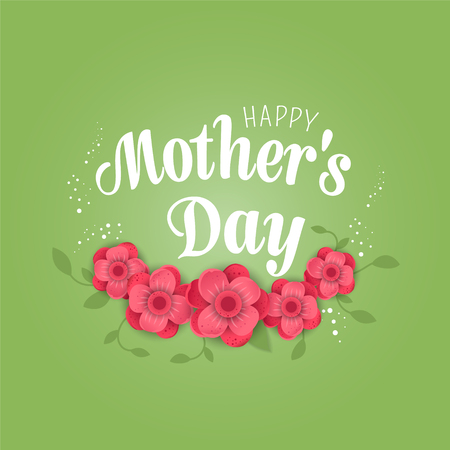 Happy Mothers Day poster.3d illustration with red  origami flowers on green background.  Eps10 vector illustration with place for your text.