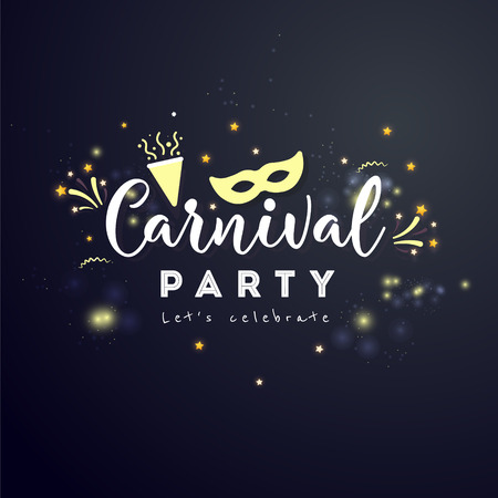 Carnival Concept Banner with star and  fireworks on a  dark background.  Fat Tuesday