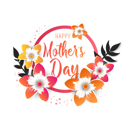 Happy Mothers Day lettering with bright flowers. Trendy design template. Vector illustration.
