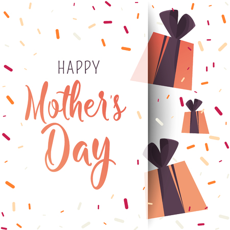 Happy Mother Day poster. Flat gifts with confetti. Trendy Design Template.  イラスト・ベクター素材