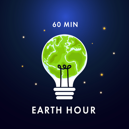 Illustration of Earth hour. Save our planet. Flat design vector illustration for web banner, web and mobile, infographics. Vector Çizim