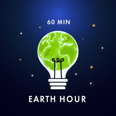 Illustration of Earth hour. Save our planet. Flat design vector illustration for web banner, web and mobile, infographics. Vector Ilustração