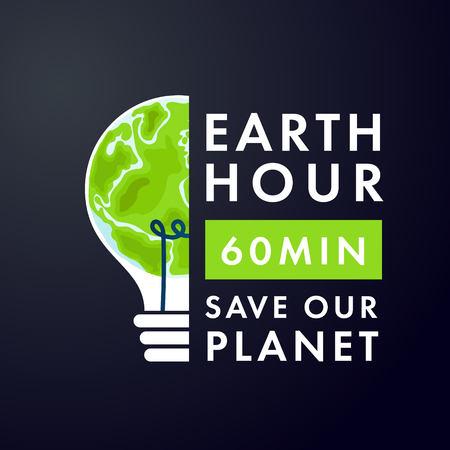 Earth in lightbulb and text earth hour 60 min save our planet. vector illustration on dark background.
