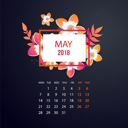 Design floral template calendar May 2018. Print template calendar with paper cut flowers.