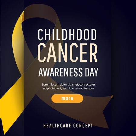 Background for childhood cancer awareness day, with symbol realistic gold ribbon, vector illustration