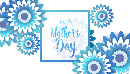 Happy Mother's Day poster with bright flowers. Trendy Design Template Vector illustration Illustration