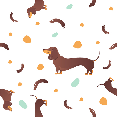 Simple modern Seamless pattern with dog. Cartoon pattern. The template for the cover fabric, books. Modern design for the fabric.  イラスト・ベクター素材