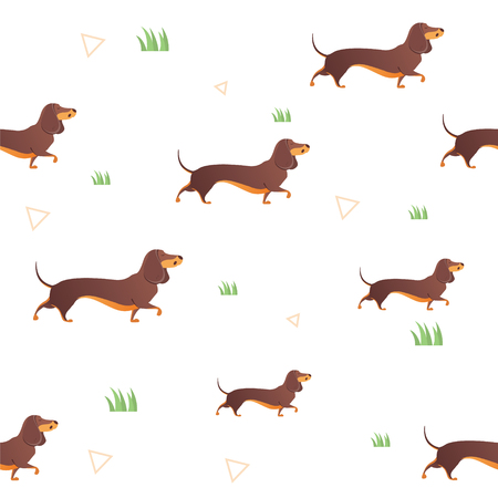 Simple modern Seamless pattern with red dog and graass.  Cartoon pattern. The template for the cover fabric, books. Modern design for the fabric.