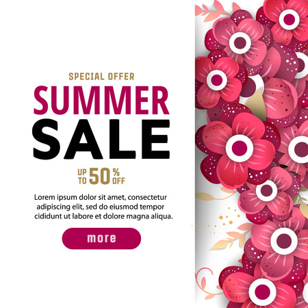 Summer sale design layout for banner advertisement card poster background with origami flowers summer sale design layout for banner advertisement card poster etc background with mightylinksfo