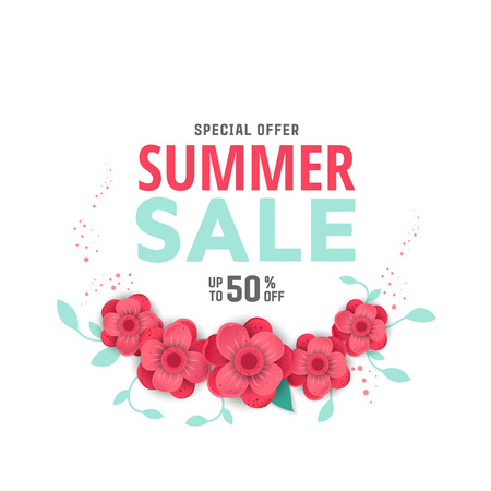 Summer sale design layout for banner, advertisement, card, poster etc. Background with origami flowers Illustration