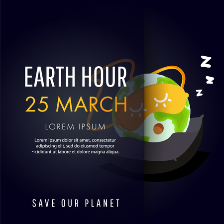 Illustration of Earth hour, 25 march. Our planet sleeps on the pillow. Flat design vector illustration for web banner, web and mobile, infographics.