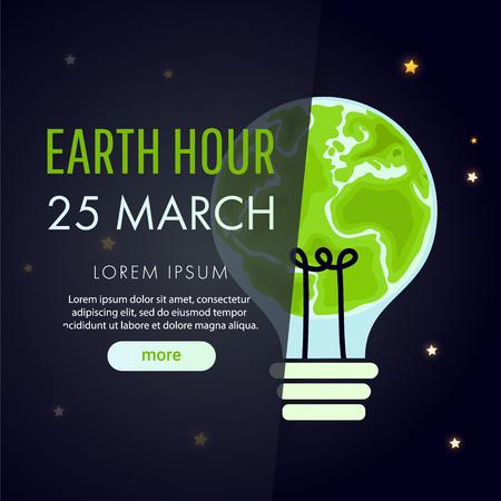 Earth hour poster with big light bulb on night background. Flat design vector illustration. Illustration