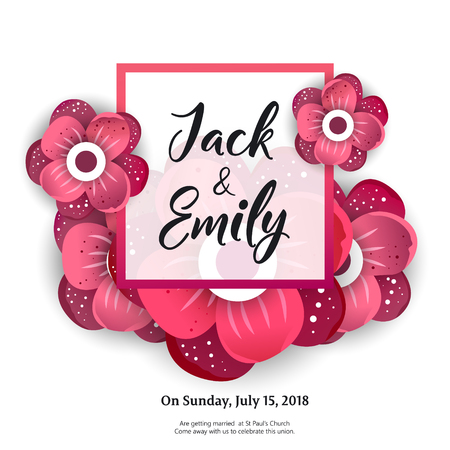 Floral invitation template with red flowers on white background in flat style vector illustration.