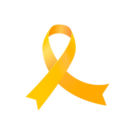Banner for childhood cancer awareness day with realistic yellow circle ribbon illustration