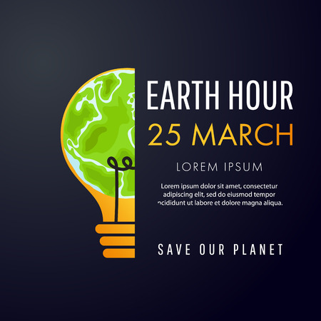 Illustration of Earth hour poster with a half light bulb Illustration