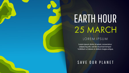 Illustration of Earth hour. 25 march. Our planet sleeps. Flat design vector illustration for web banner.