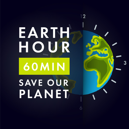 Illustration of Earth hour. 25 march. Our planet sleeps. Flat design vector illustration for web banner.