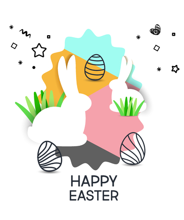 Vector cute poster for Easter Egg  with colored eggs and rabbits.  Holiday background Illustration