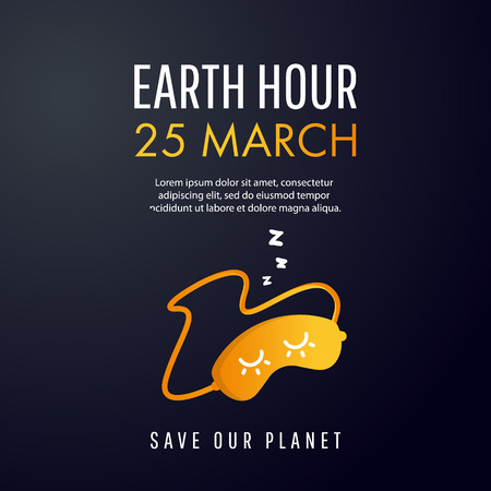 Illustration of Earth hour. 25 march. Our planet sleeps. Flat design vector illustration for web banner, web and mobile, info-graphics. Vector illustration.