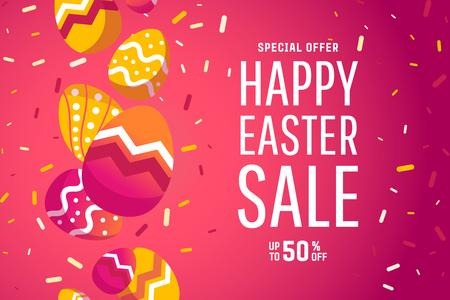 Easter sale banner background template with modern colorful spring flowers and eggs.