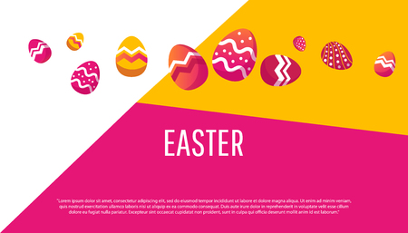 Easter geometric background with colorful egg. Poster with place for text.