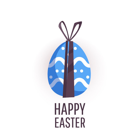 Easter egg  greeting card. Vector Easter Flyer Illustration with painted eggs. Place for your text. Illustration