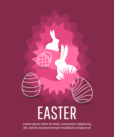 Happy Easter poster with eggs and rabbits. Concept for banner, flyer, invitation, greeting card, holiday backgrounds.