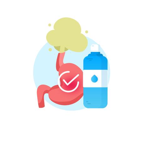 Gastroesophageal reflux disease Water fluid Vector illustration. Illustration