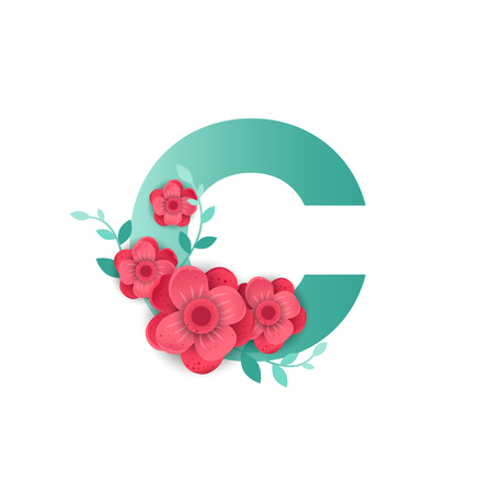 Floral letter C made of flowers. Typographic, monogram, paper cut style vector illustration. Vettoriali