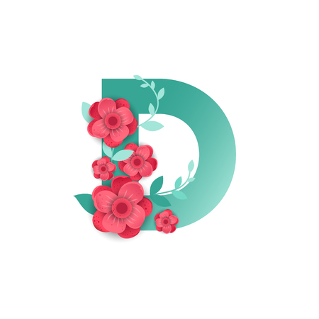 Floral Letter D Made of Flowers. Typographic, Monogram.Paper cut style. Vector illustration.  イラスト・ベクター素材