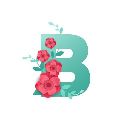 Floral Letter B Made of Flowers. Typographic, Monogram. Paper cut style. Vector illustration.