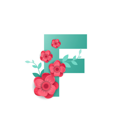 Floral letter F made of flowers. Typographic, monogram, paper cut style vector illustration.