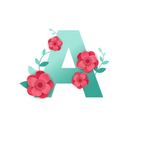 Floral Letter A Made of Flowers. Typographic, Monogram.Paper cut style. Vector illustration.