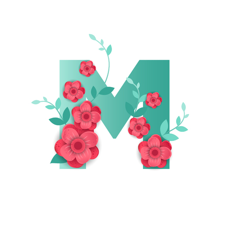 Floral Letter M Made of Flowers. Typographic, Monogram. Paper cut style vector illustration. Vettoriali