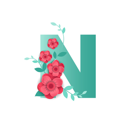 Floral Letter N Made of Flowers. Typographic, Monogram.Paper cut style. Vector illustration. Vettoriali