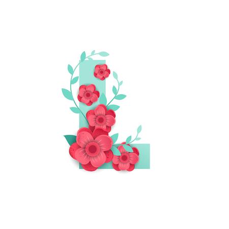 Floral Letter L Made of Flowers Vector illustration.