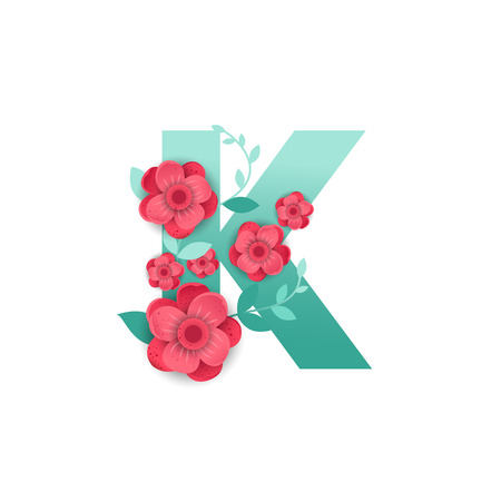 Floral Letter K Made of Flowers. Typographic, Monogram.Paper cut style. Vector illustration.