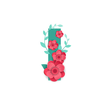 Floral Letter I Made of Flowers. Typographic, Monogram.Paper cut style. Vector illustration.