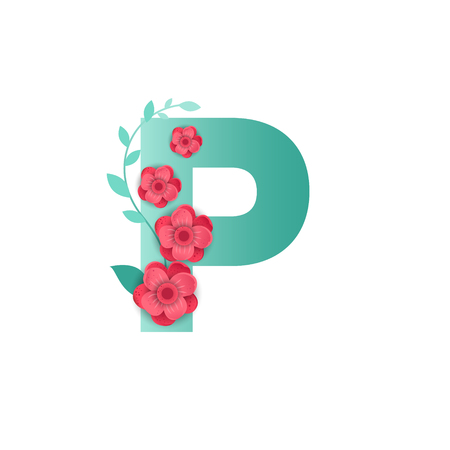 Floral Letter P Made of Flowers. Typographic, Monogram.Paper cut style. Vector illustration.