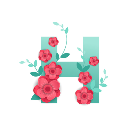 Floral Letter H Made of Flowers. Typographic, Monogram.Paper cut style. Vector illustration.
