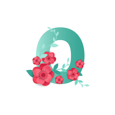 Floral number 0 made of flowers. Typographic, monogram paper cut style vector illustration.