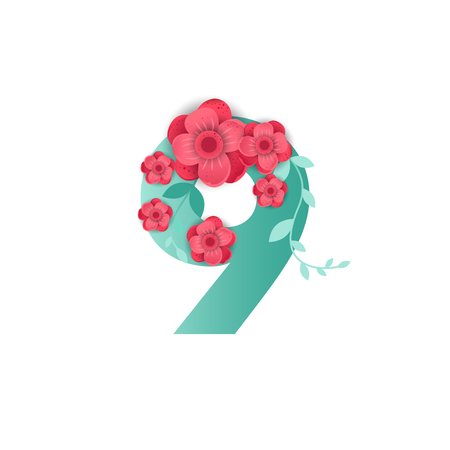 Floral number 9 Made of Flowers. Typographic, Monogram.Paper cut style. Vector illustration. Vettoriali