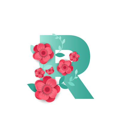 Floral letter R made of flowers. Typographic, monogram paper cut style vector illustration. Vettoriali