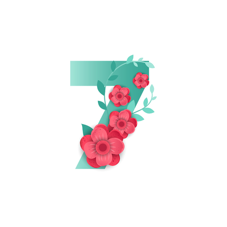 Floral number 7 Made of Flowers. Typographic, Monogram.Paper cut style. Vector illustration.