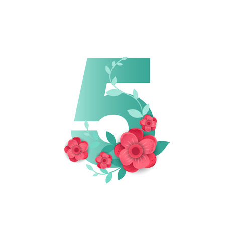Floral number 5 Made of Flowers. Typographic, Monogram.Paper cut style. Vector illustration.